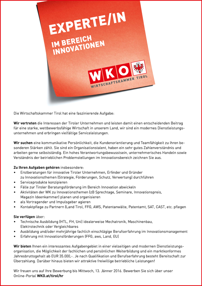 Experte/in im Bereich Innovationen