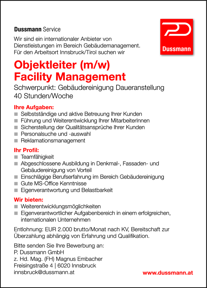 Objektleiter (m/w) Facility Management