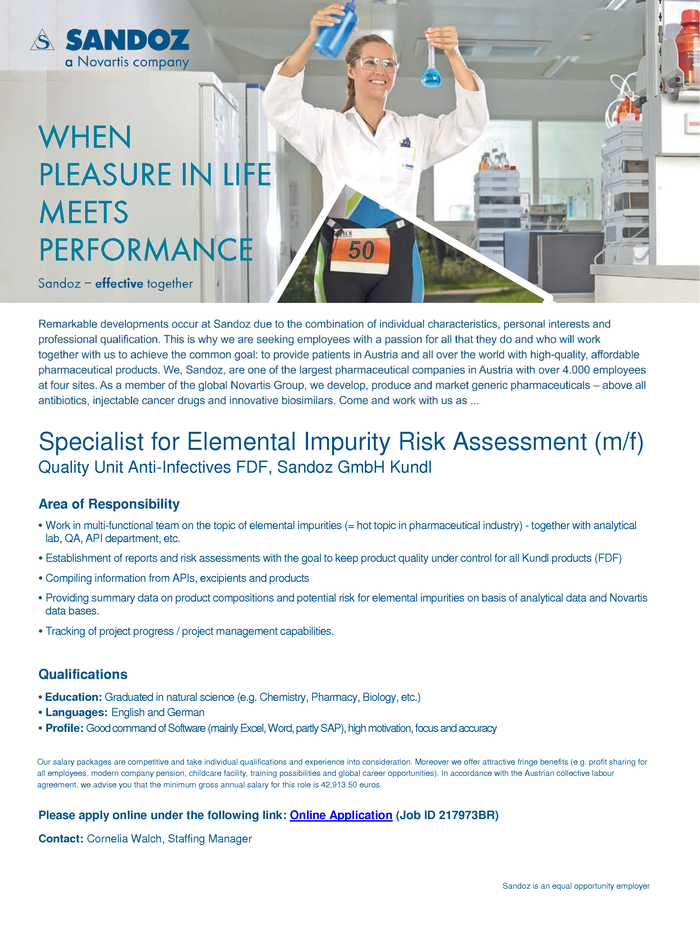 Specialist for Elemental Impurity Risk Assessment (m/f)
