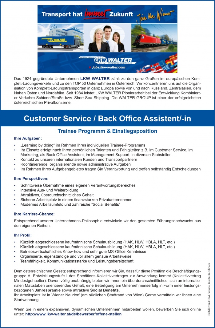 Customer Service, Back-Office AssistentIn