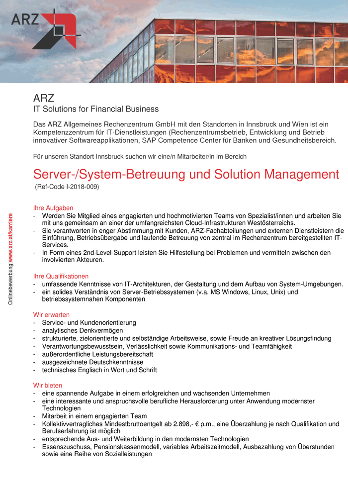 Server-/System-Betreuung und Solution Management