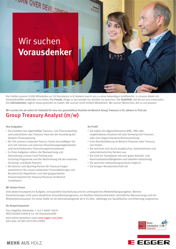 Group Treasury Analyst (m/w)