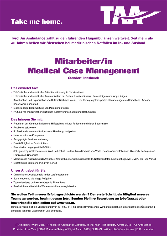 Mitarbeiter/in Medical Case Management