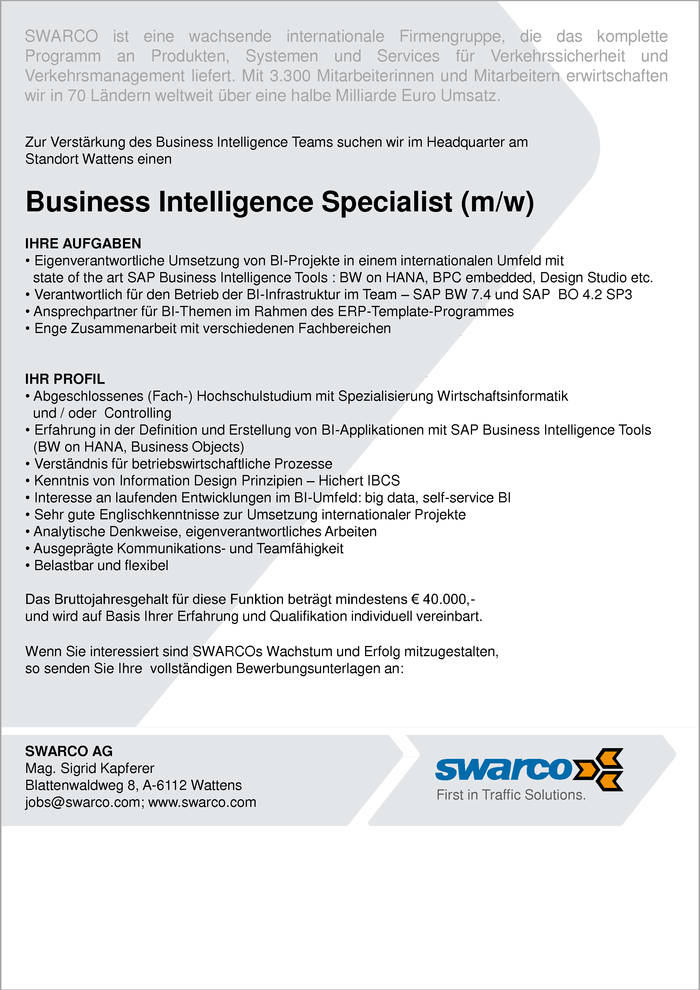 Business Intelligence Specialist (m/w)