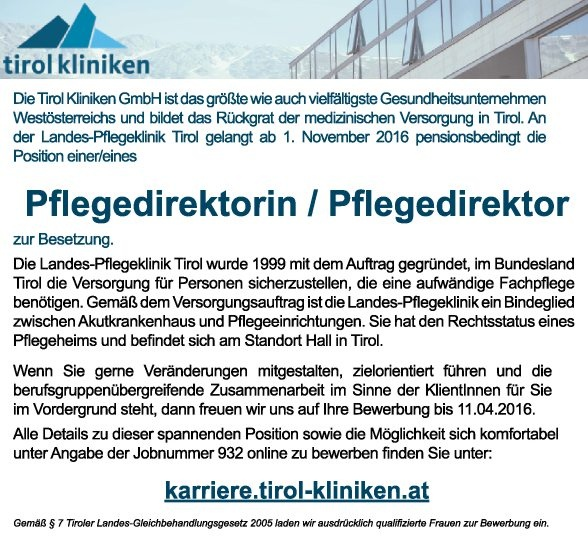 Pflegedirektorin / Pflegedirektor