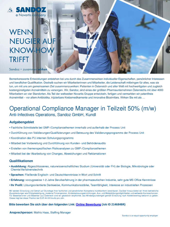 Operational Compliance Manager in Teilzeit 50% (m/w)