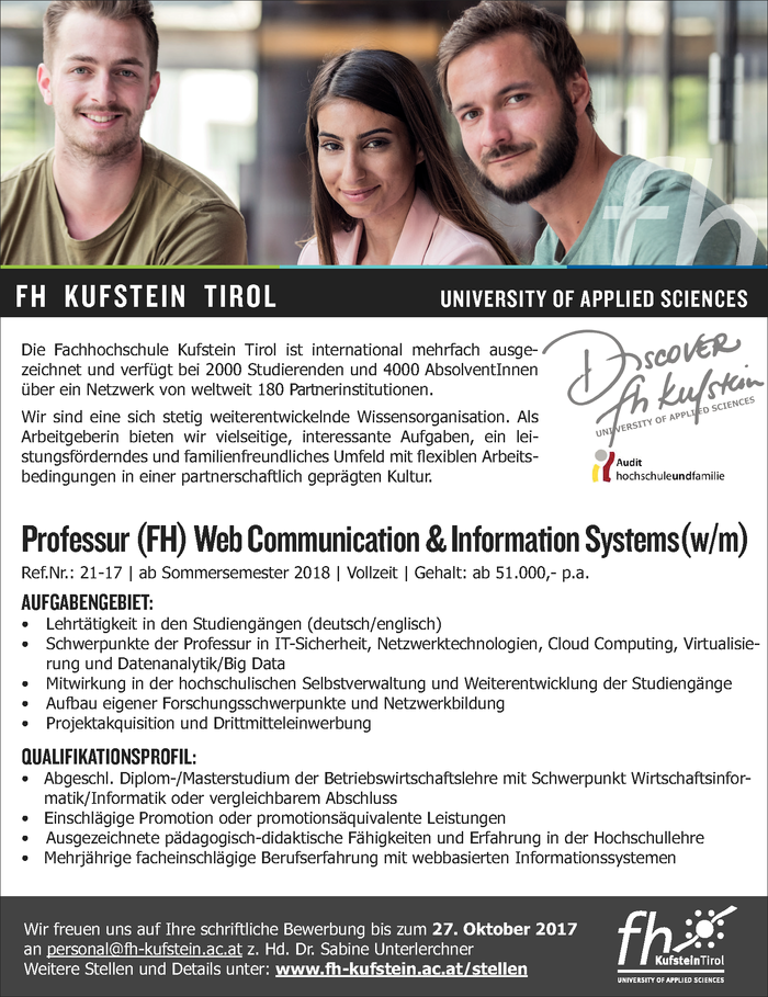 Professur (FH) Web Communication & Information Systems(w/m)
