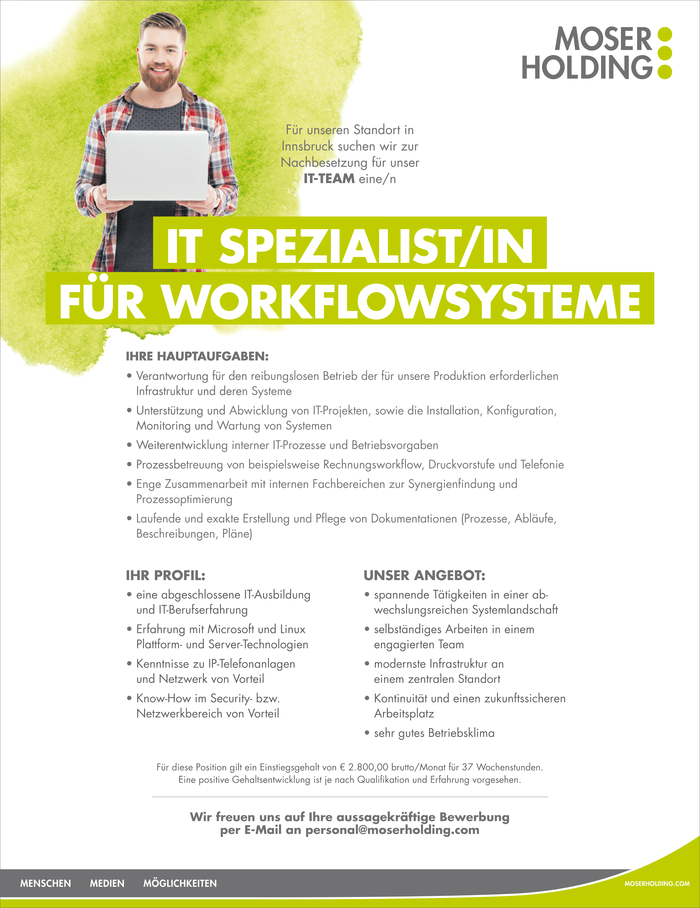 IT SPEZIALIST/IN FÜR WORKFLOWSYSTEME