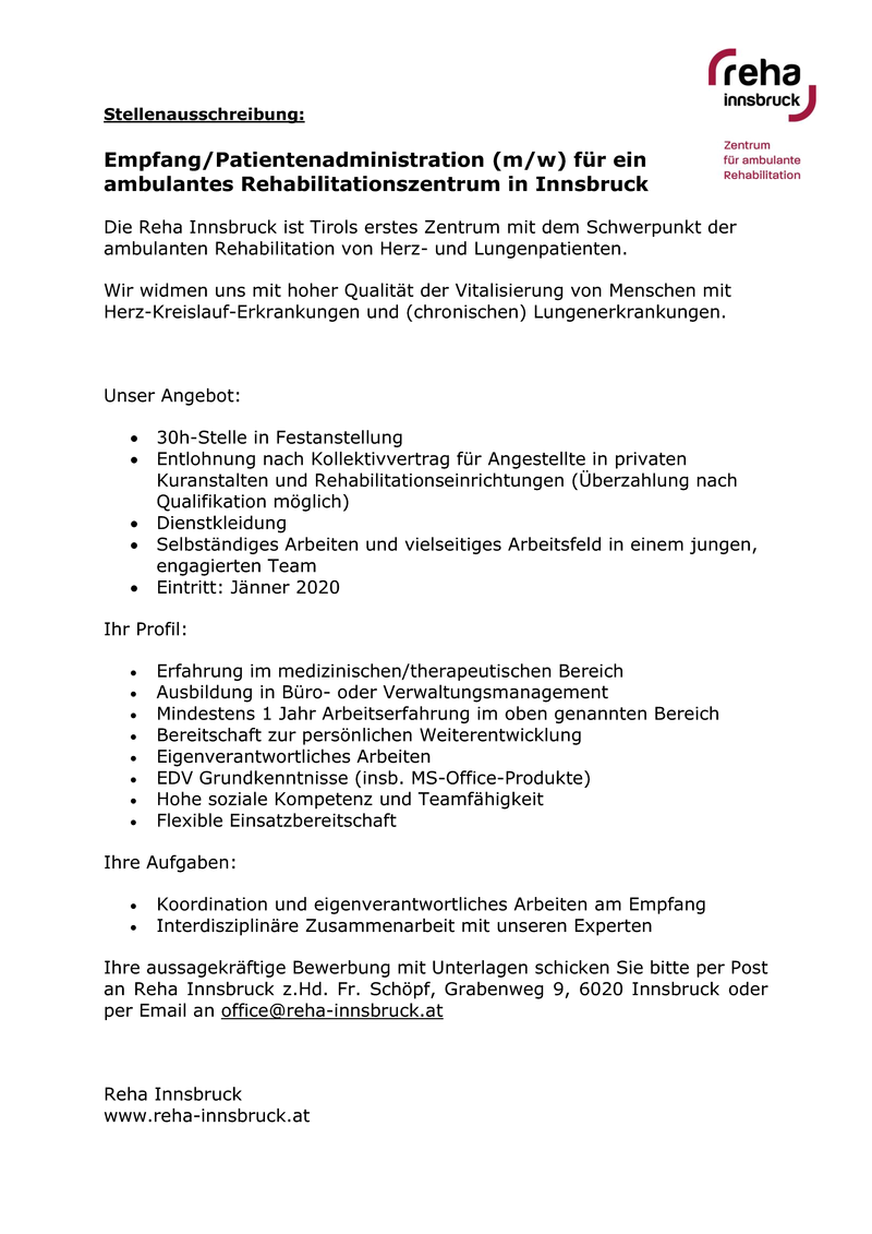 Empfang/ Patientenadministration (m/w)