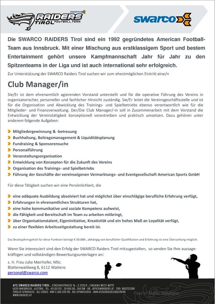 Club Manager/in der SWARCO Raiders Tirol