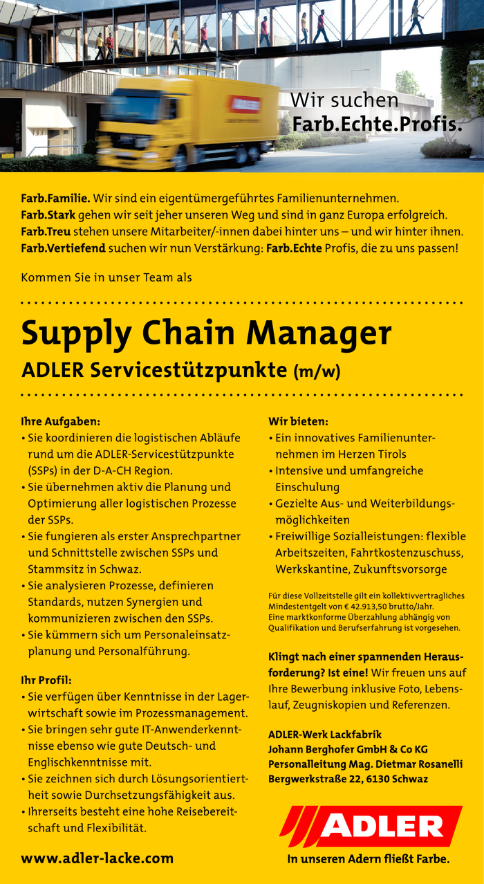 Supply Chain Manager ADLER Servicestützpunkte (m/w)