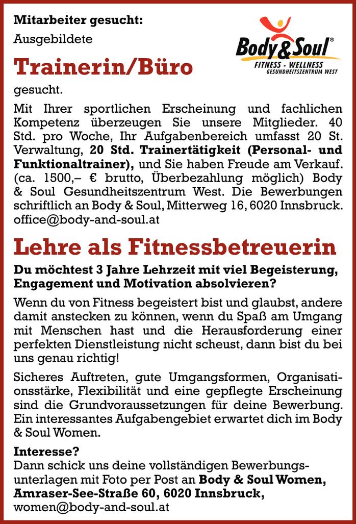 Ausgebildete Trainerin Buro Lehre Als Fitnessbetreuerin Im Bezirk