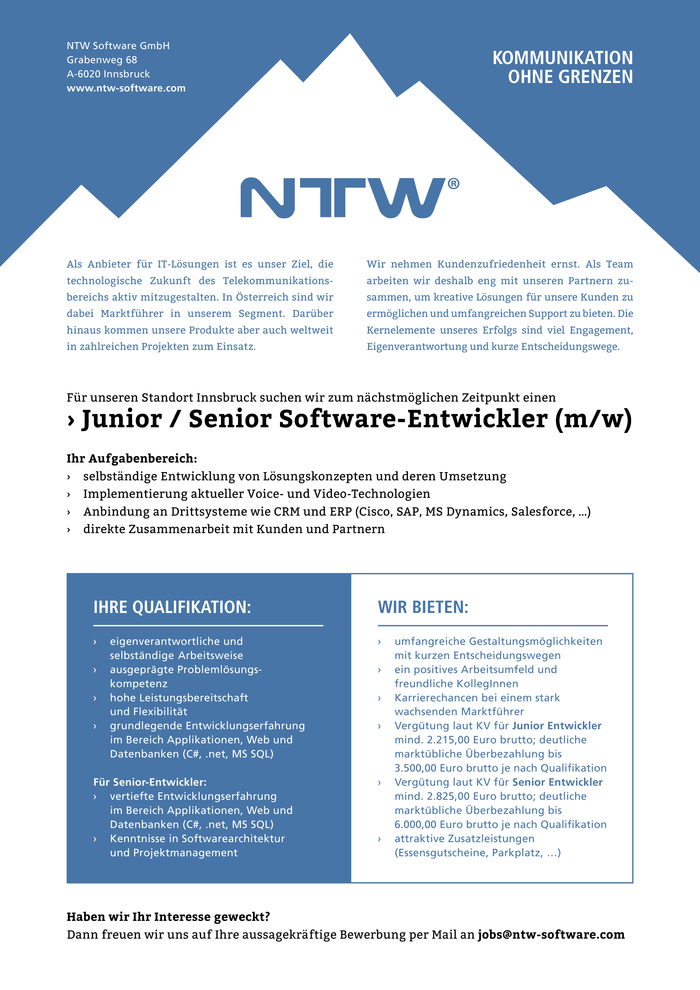 Junior / Senior Software-Entwickler (m/w)