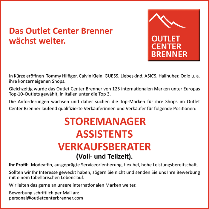 Outlet Center Brenner sucht...