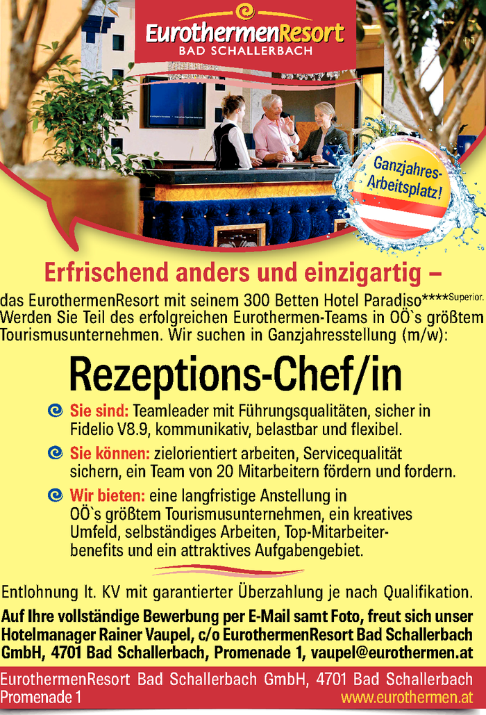 Rezeptions-Chef/in