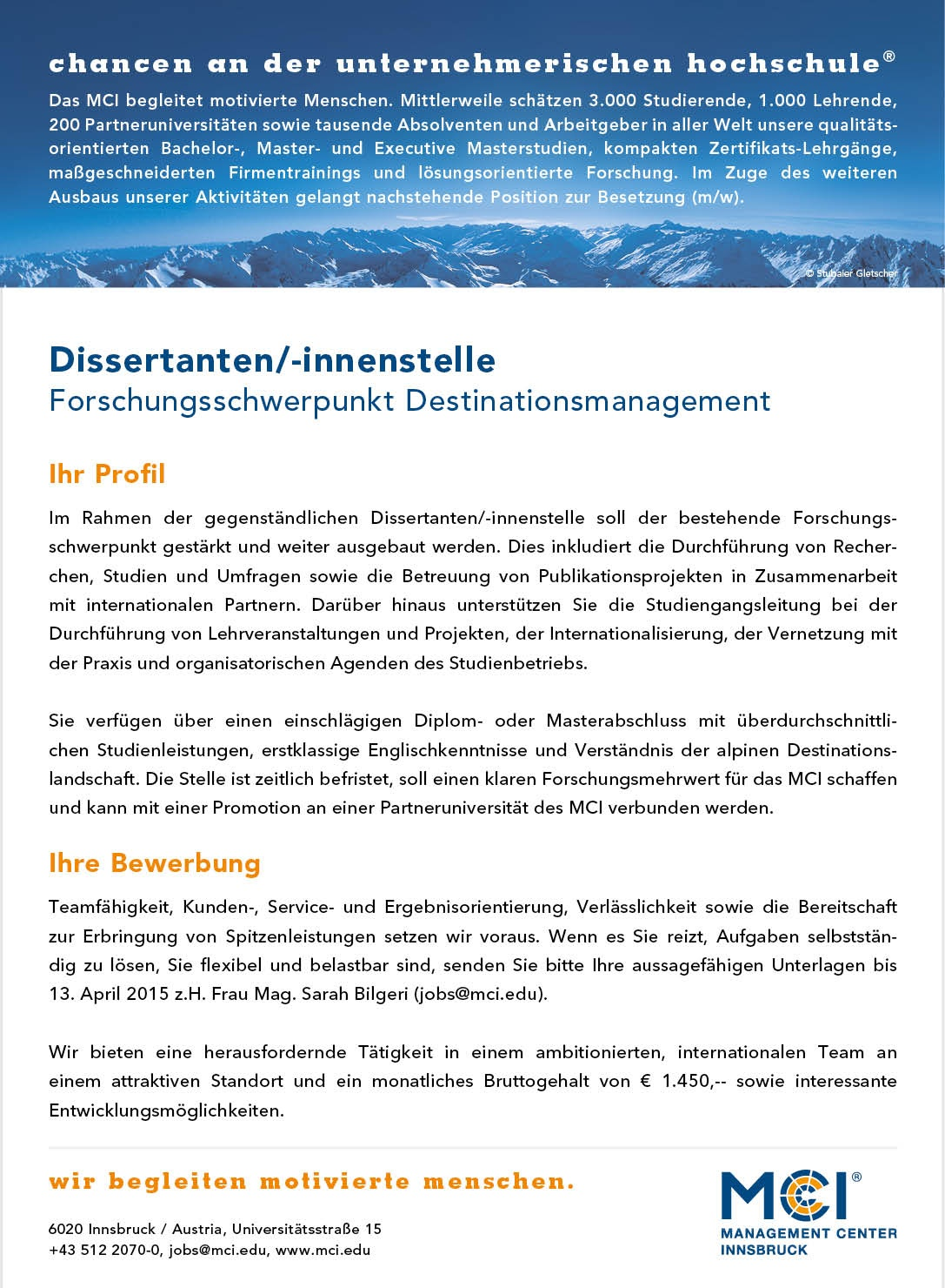 Dissertanten/-innenstelle (m/w) Destinationsmanagement
