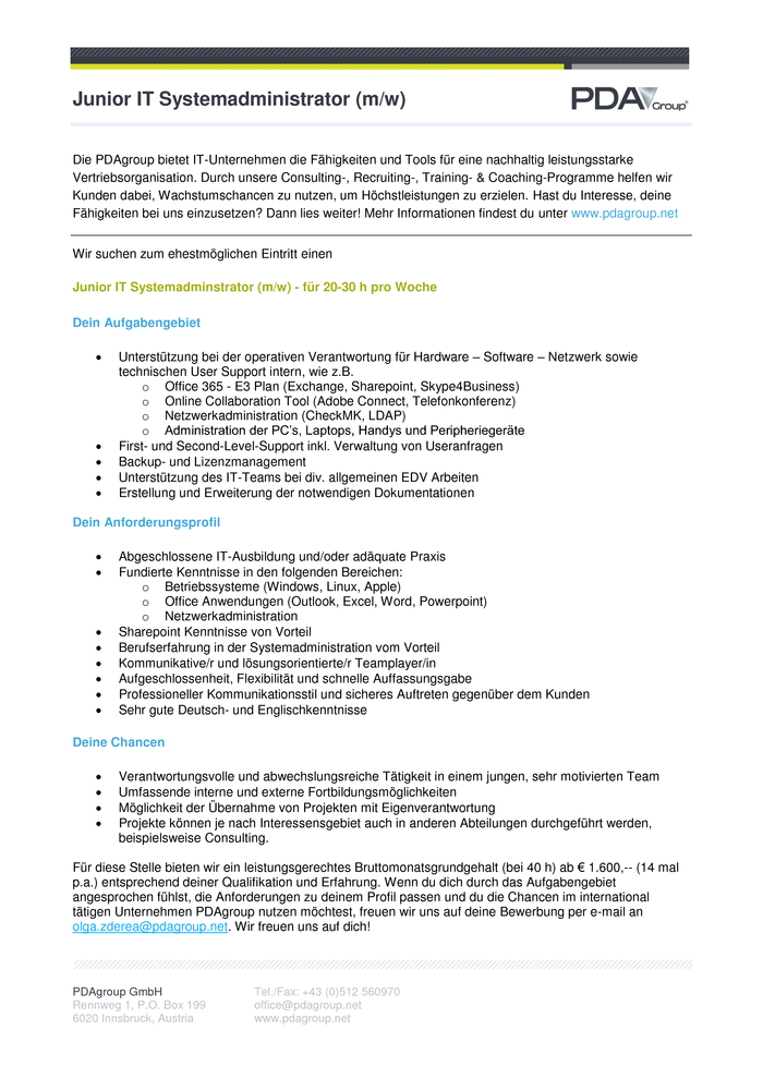 Junior IT Systemadministrator (m/w)