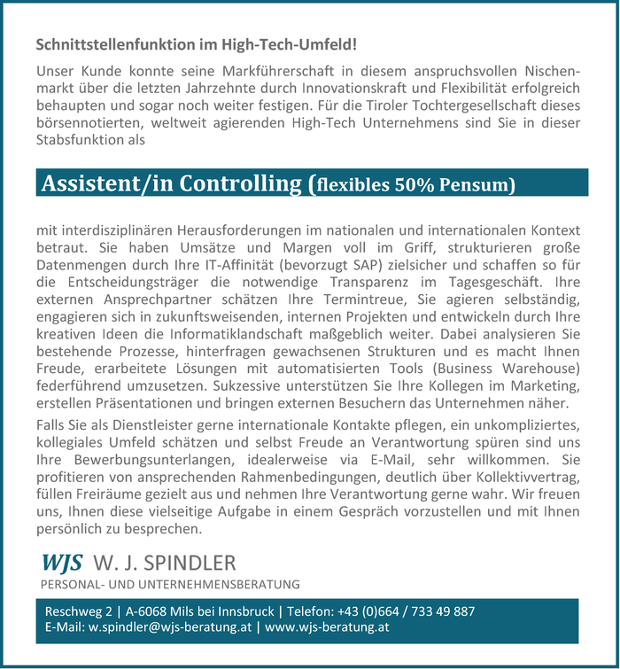 Assistent/in Controlling (flexibles 50% Pensum)