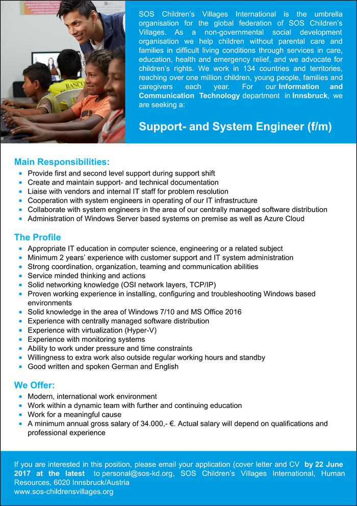 Support- and System Engineer (f/m)