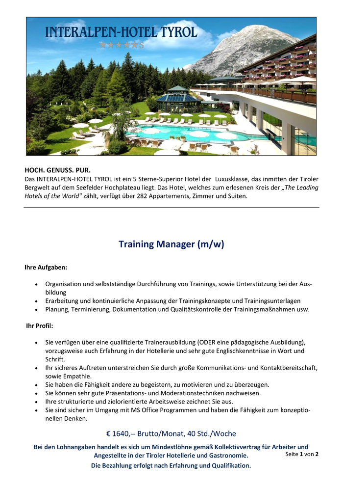 Training Manager / Ausbildungskoordinator