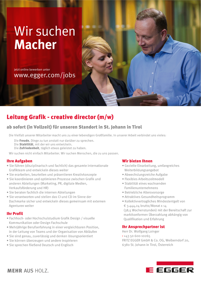 Leitung Grafik - creative director (m/w)