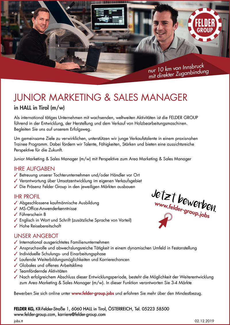 JUNIOR MARKETING & SALES MANAGER in HALL in Tirol (m/w)