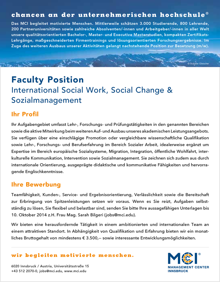 Faculty Position International Social Work, Social Change & Sozialmanagement
