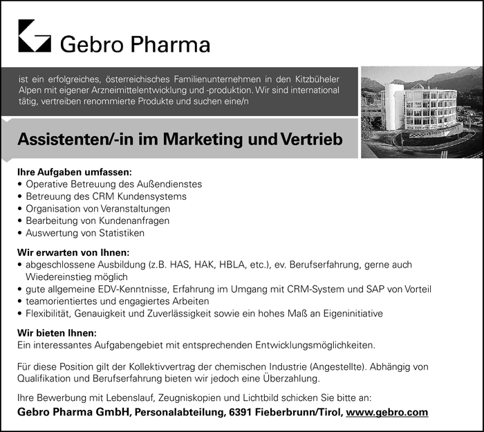 Assistenten/-in im Marketing und Vertrieb