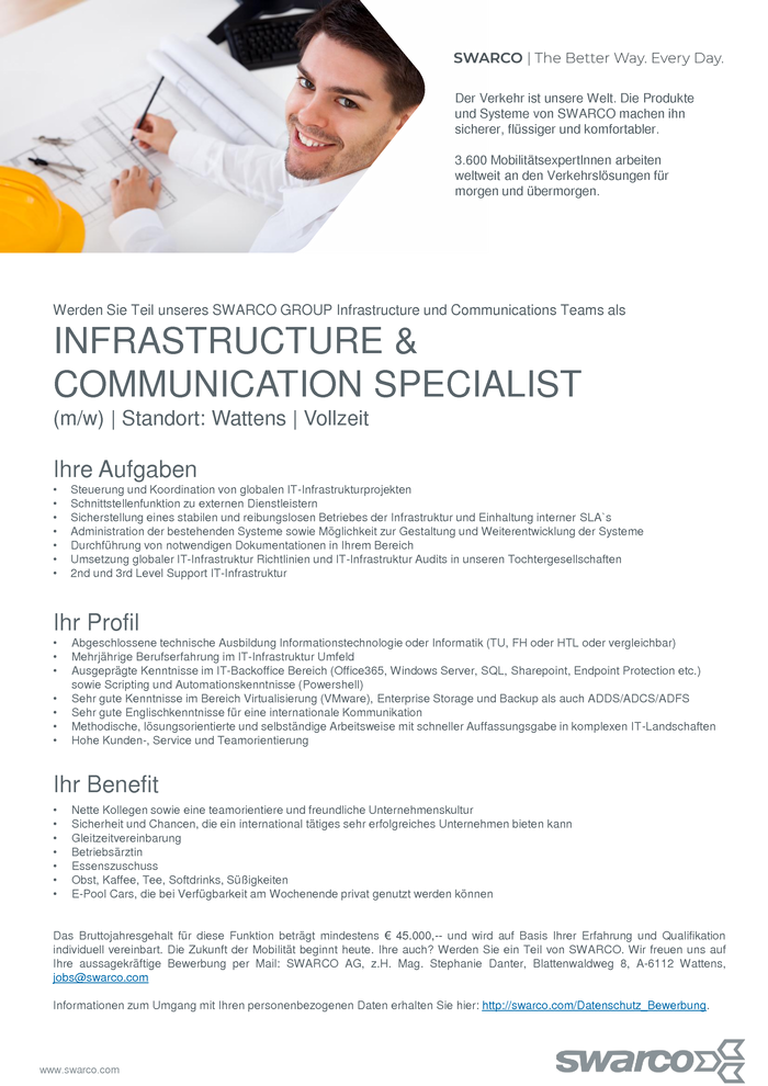 INFRASTRUCTURE & COMMUNICATION SPECIALIST  (m/w)