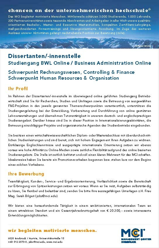 Dissertanten/-innenstelle Rechnungswesen, Controlling & Finance / HR & Organisation