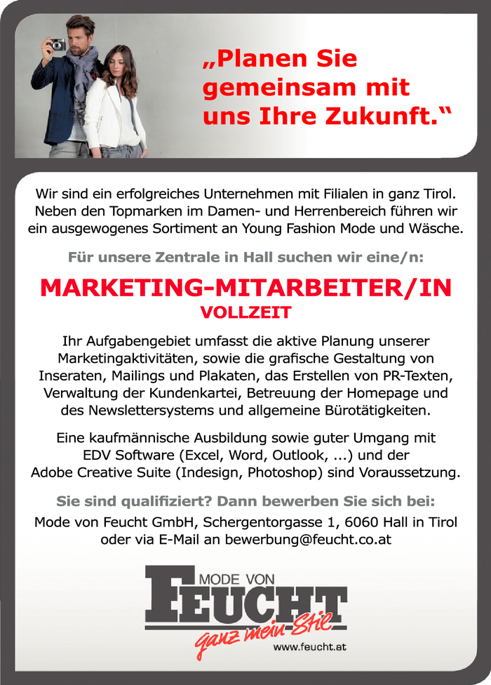 Marketing-Mitarbeiter/in