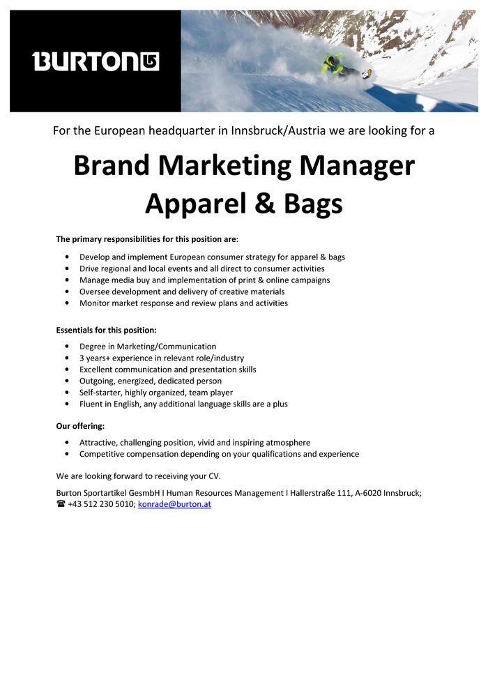 Brand Marketing Manager Apparel & Bags