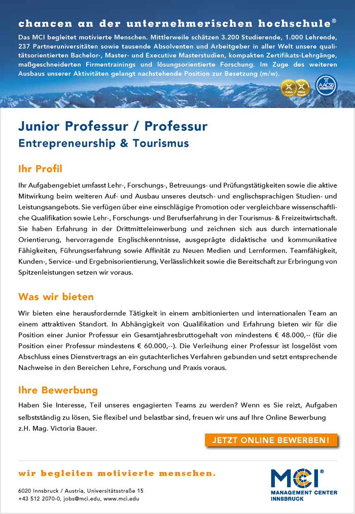 Junior Professur | Professur Entrepreneurship & Tourismus