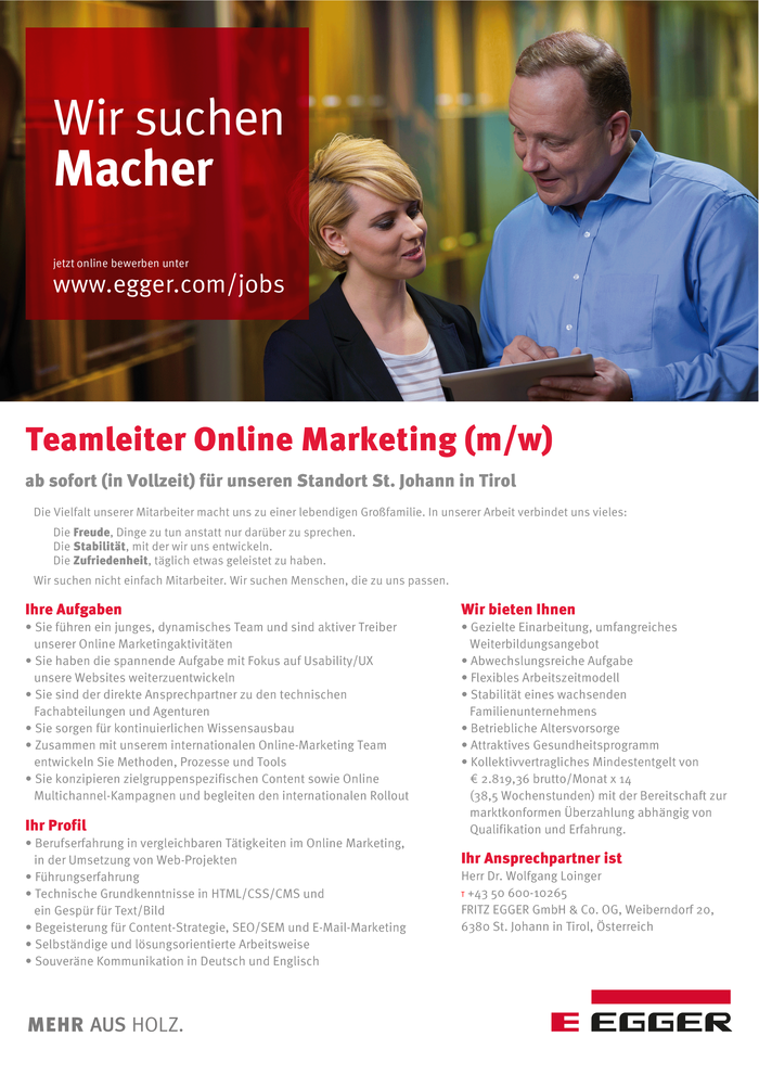 Teamleiter Online Marketing (m/w)