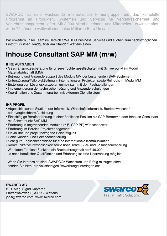 Inhouse Consultant SAP MM (m/w)