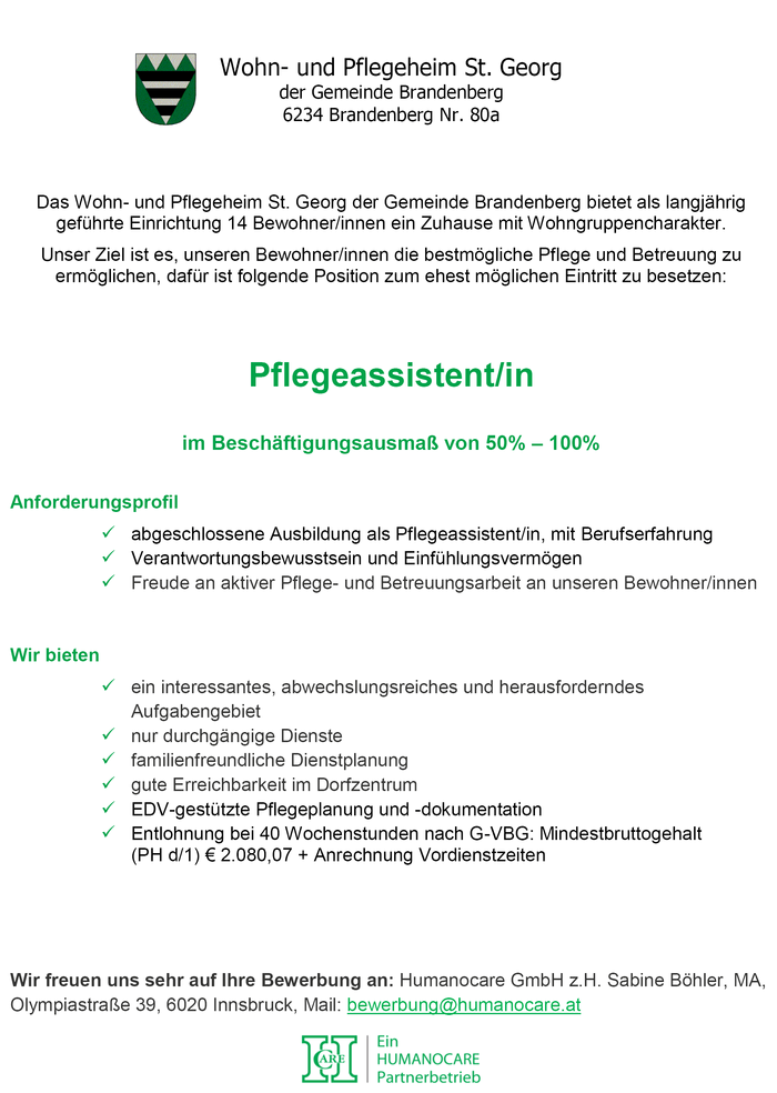 Pflegeassistent/in