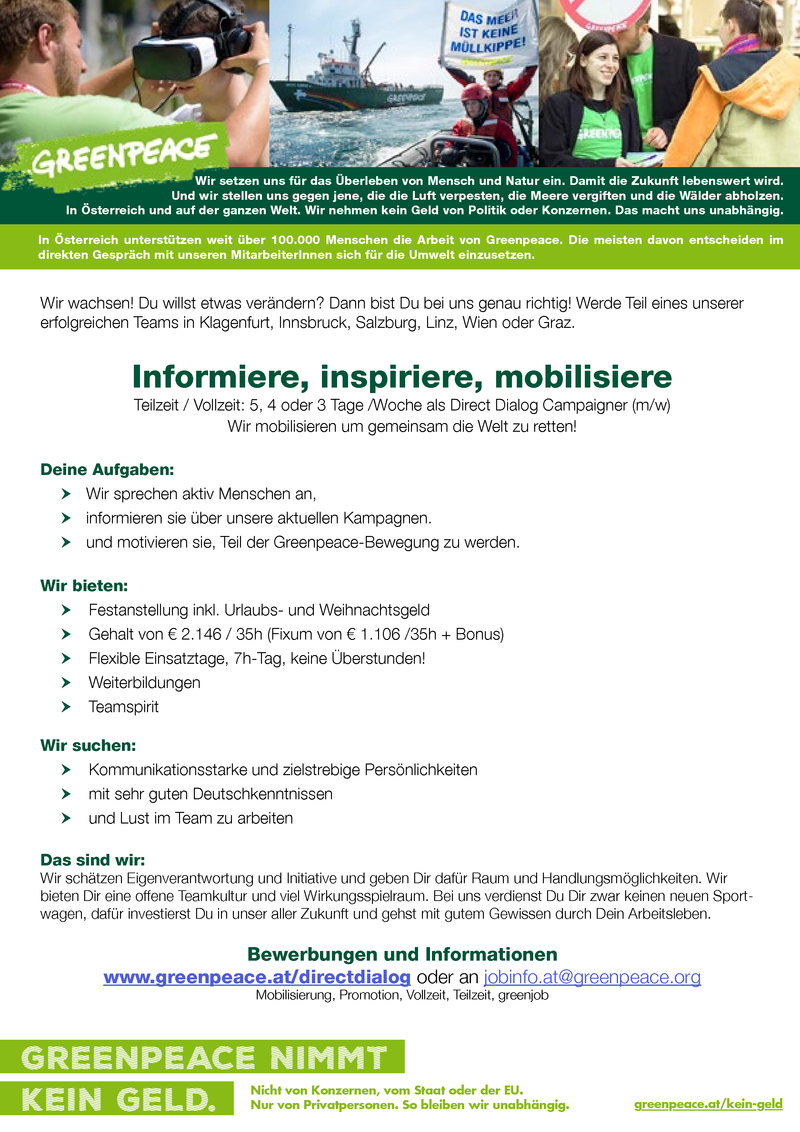 LastMinuteFerialjob: Informiere, inspiriere, mobilisiere