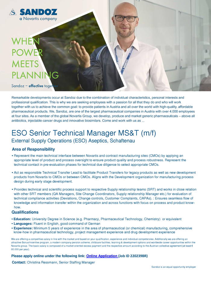 ESO Senior Technical Manager MS&T (m/f)