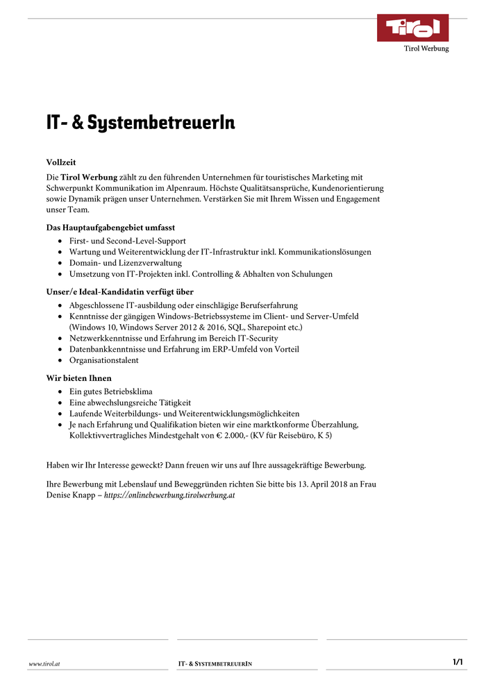 IT- & SystembetreuerIn
