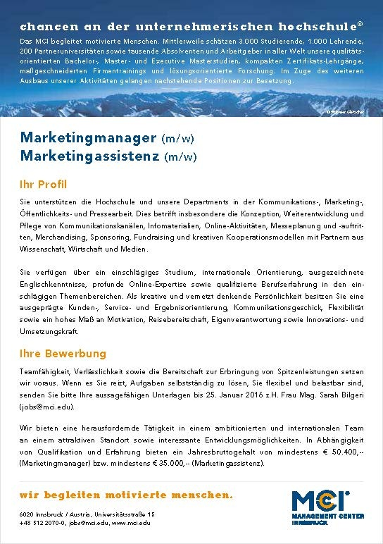 Marketingmanager (m/w) & Marketingassistenz (m/w)