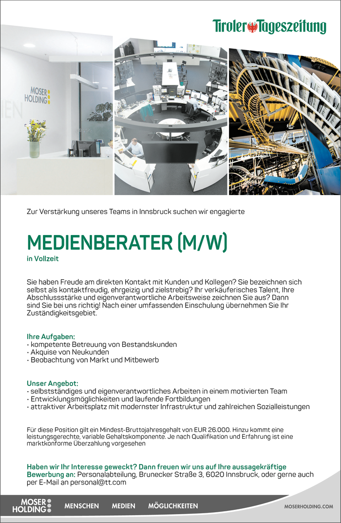 Medienberater (m/w) in Vollzeit