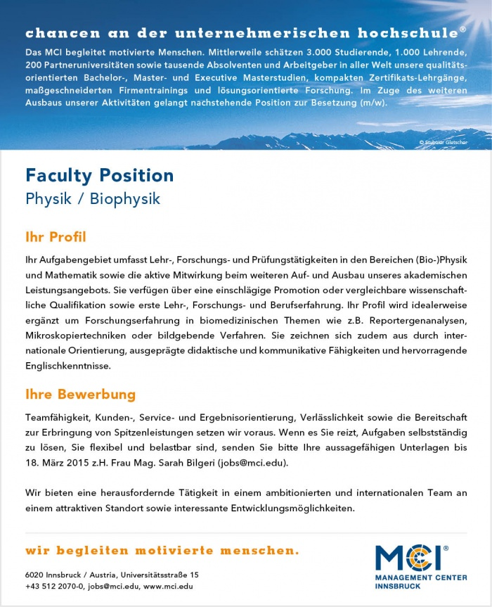 Faculty Position - Physik / Biophysik
