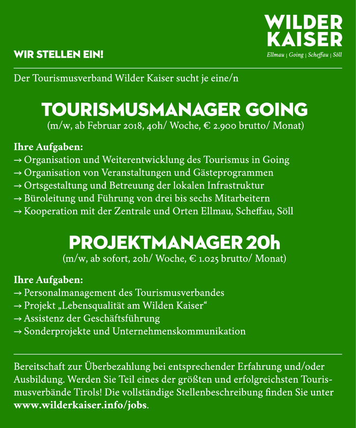 Tourismusmanager Going (m/w) und Projektmanager 20h (m/w)