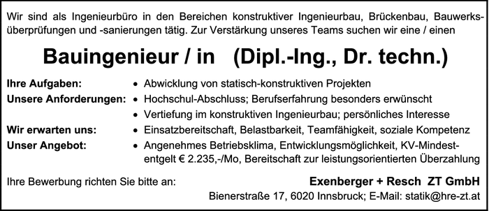 Bauingenieur / in (Dipl.-Ing., Dr. techn.)