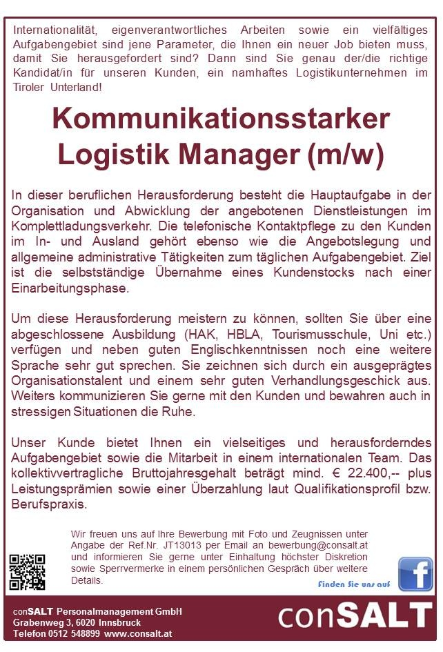 Kommunikationsstarker Logistik Manager (m/w)