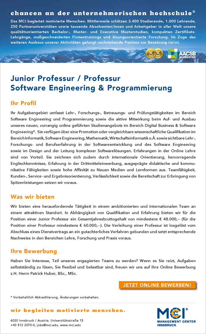 Junior Professur | Professur Software Engineering & Programmierung