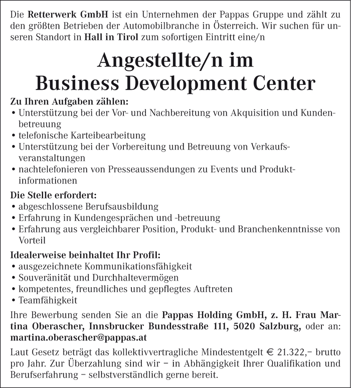 Angestellte/n im Business Development Center