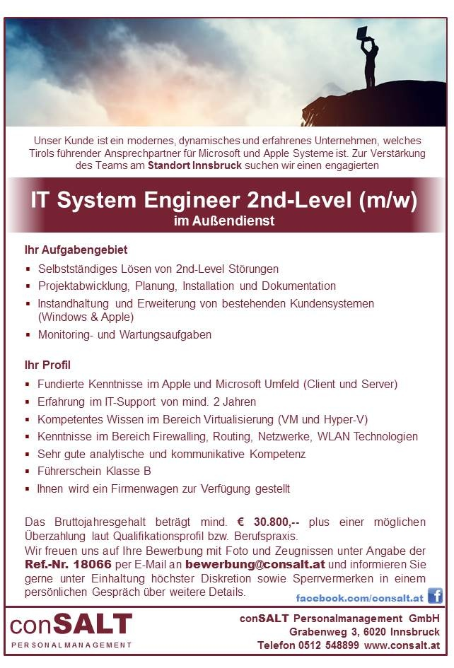 IT System Engineer 2nd-Level (m/w)