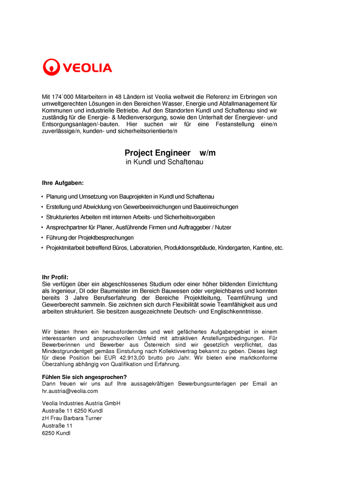 Project Engineer (m/w)