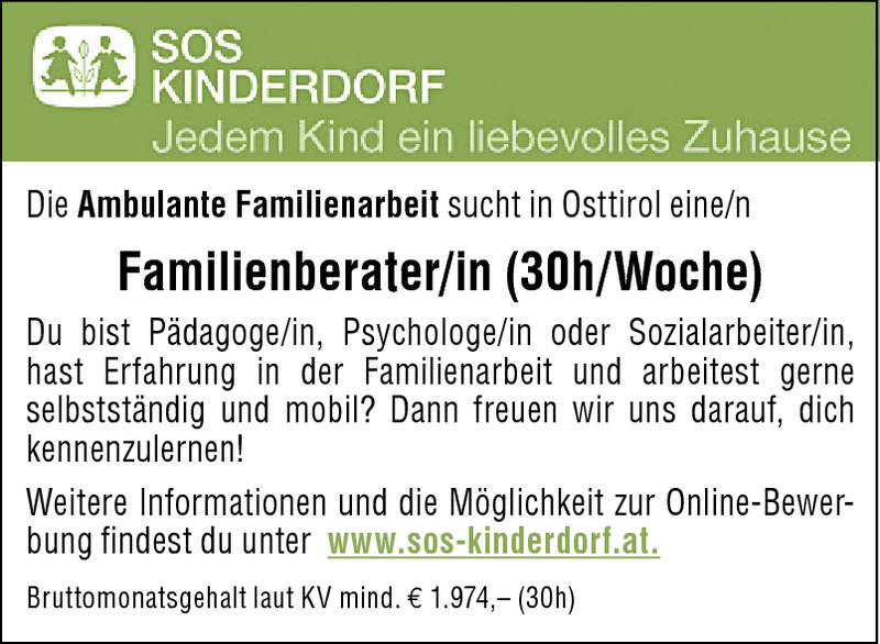 Familienberater/in (30h/Woche)
